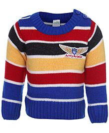 Babyhug Full Sleeves Sweater - Army Aviator Patch