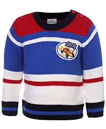 Babyhug Full Sleeves Sweater - Racing Car Embroidery
