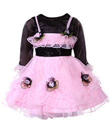 Kittens Singlet Frock With Inner Tee - Floral Applique