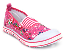 Kittens Canvas Belly Shoes Floral Embroidery - Pink