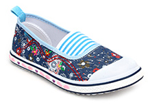 Kittens Canvas Belly Shoes Floral Embroidery - Navy Blue