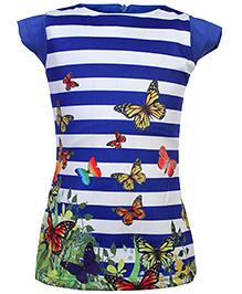 Babyhug Knitted Frock Digital Print - Butterflies