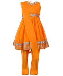Babyhug Sleeveless Kurta And Churidar With Dupatta - Orange