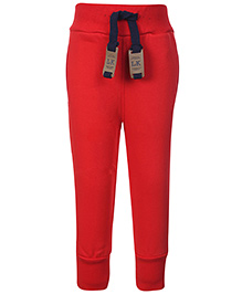 Little Kangaroos Solid Track Pant With Drawstring - Red