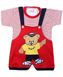 Babyhug Dungaree With Half Sleeves T-Shirt Red - Teddy Motif