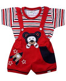 Babyhug Dungaree With Half Sleeves T-Shirt Red - Embroidered