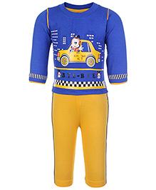 Babyhug Full Sleeves T-Shirt And Legging Set - Taxi Print
