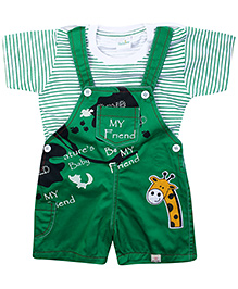 Babyhug Dungaree With Half Sleeves T-Shirt Green - Friend Print