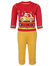 Babyhug Full Sleeves T-Shirt And Legging Set Red And Yellow - Taxi Print