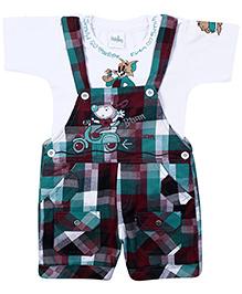 Babyhug Dungaree With Half Sleeves T-Shirt -Checks Print