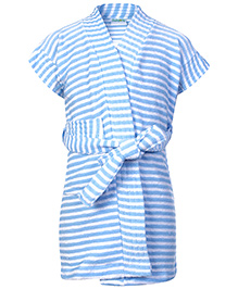 Babyhug Terry Bath Robe Blue - Stripes