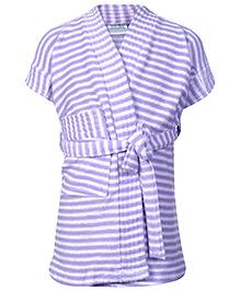Babyhug Terry Bath Robe Purple - Stripes