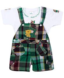 Babyhug Dungaree With Half Sleeves T-Shirt Green - Best Buddies