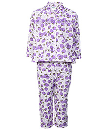 Babyhug Full Sleeves Printed Night Suit - Purple