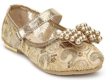 Sweet Year Party Belly Shoes - Bow With Pearl Motif