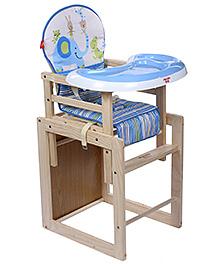 Fab N Funky Baby Wooden High Chair Blue - Elephant Print