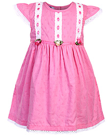 Mini Cupcake Short Sleeves Frock Pink - Floral Applique