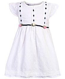 Mini Cupcake Short Sleeves Frock White - Floral Applique