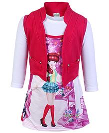 Babyhug Knitted Frock With Jacket Fuchsia - Digital Print