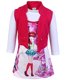 Babyhug Knitted Frock With Jacket Fuchsia - Digital Print