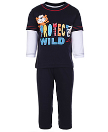 Child World Full Sleeves T-Shirt And Pants Protect Wild - Navy Blue