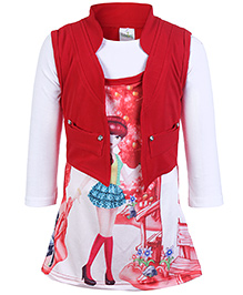Babyhug Knitted Frock With Jacket Red - Digital Print