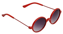Spiky Round Sunglasses - Red And Black - Free Size