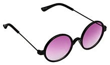 Spiky Round Sunglasses - Black And Violet - Free Size