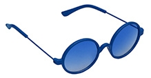 Spiky Round Sunglasses - Blue - Free Size
