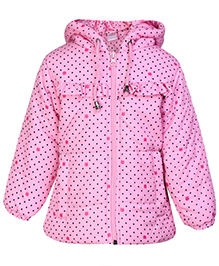 Babyhug Hooded Jacket Full Sleeves - Dot Prints