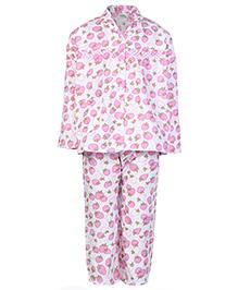 Babyhug Full Sleeves Printed Night Suit - Pink