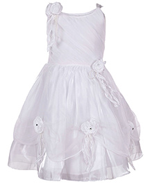 Babyhug Singlet Frock White - Rose Applique