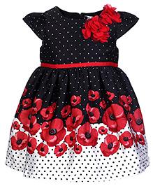 Beebay Frock Short Sleeves - Floral Applique