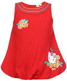 Hello Kitty Sleeveless Frock - Flower Print