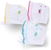 Babyhug Cap With Knot Embroidered Medium - Pack Of 3