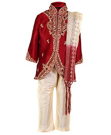 Babyhug Full Sleeves Kurta And Pajama With Dupatta - Embroidered