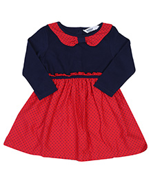 Beebay Jersey Bow Dress Star Print - Red And Navy Blue - 0 To 3 Months