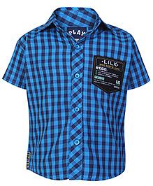 Little Kangaroos Half Sleeves Shirt Blue - Checks Print