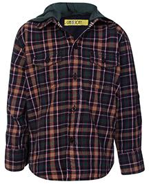 Gini & Jony Full Sleeves Hooded Shirt - Check Print