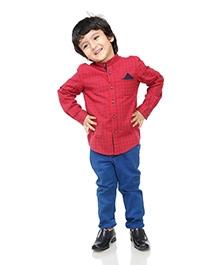 BonOrganik Full Sleeves Shirt Mandarin Collar - Check Pattern