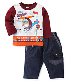 Cucumber Full Sleeves T-Shirt And Denim Maroon  - Helicopter Print - 0 To 3 Months