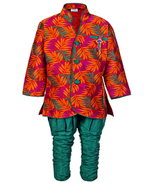 Babyhug Full Sleeves Kurta And Jodhpuri Breeches - Leaves Print