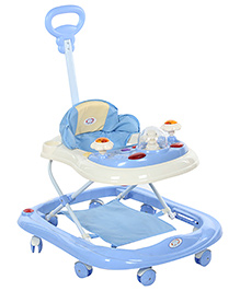 Musical Baby Walker With Push Handle - Blue