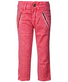 Leo N Babes Ankle Pants Dark Peach - Floral Pattern