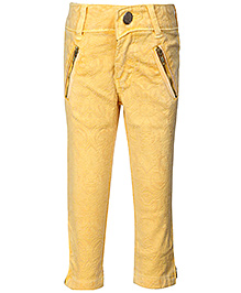 Leo N Babes Ankle Pants Lemon Yellow - Floral Pattern - 1 To 2 Years