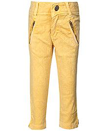 Leo N Babes Ankle Pants Lemon Yellow - Floral Pattern
