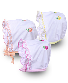 Babyhug Cap With Knot Floral Embroidery - Pack of 3