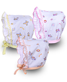 Babyhug Cap With Knot Bear And Fish Print - Pack of 3