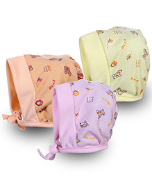 Babyhug Cap With Knot Bear Print - Pack of 3