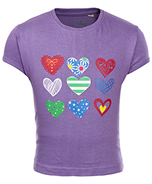 Babyhug Short Sleeves T-Shirt - Heart Print